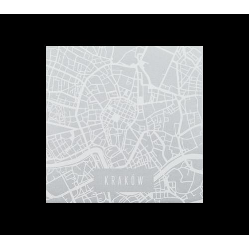 naklejka mapa krakowa biała