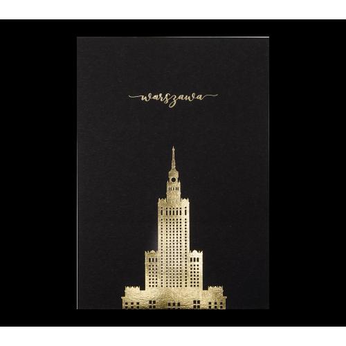pocztówka czarna pałac kultury