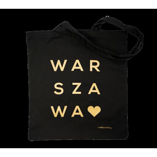 torba czarna napis warszawa