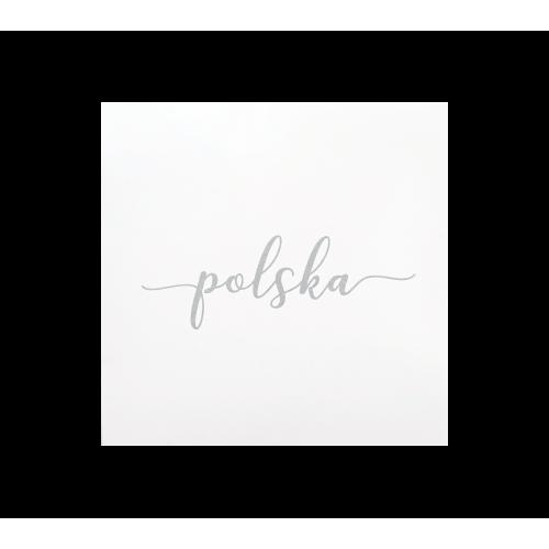 naklejka napis polska biała