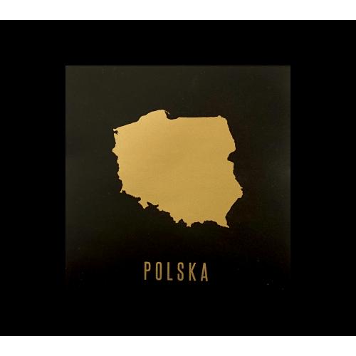 naklejka mapa polski czarna