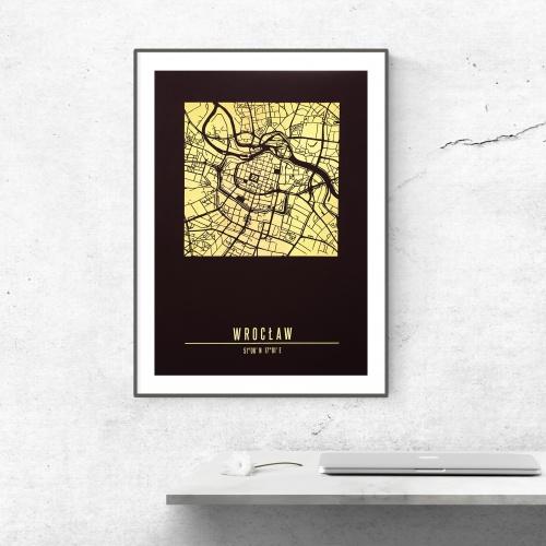 plakat a3 czarno-złoty mapa...