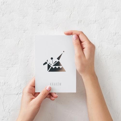 pocztówka biała lajkonik
