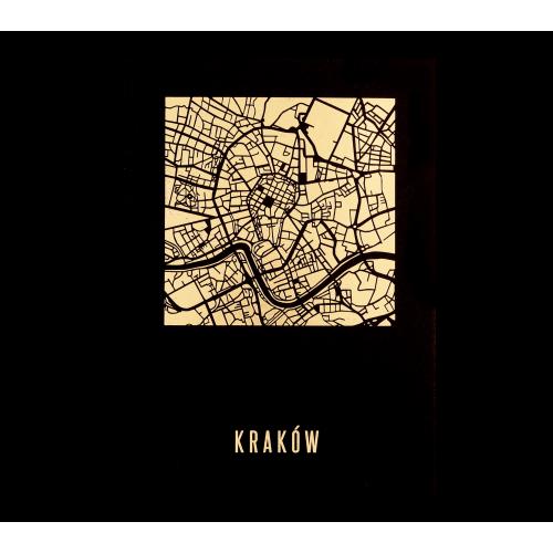 pocztówka czarna mapa krakowa