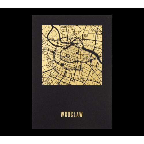 pocztówka wrocław czarna mapa